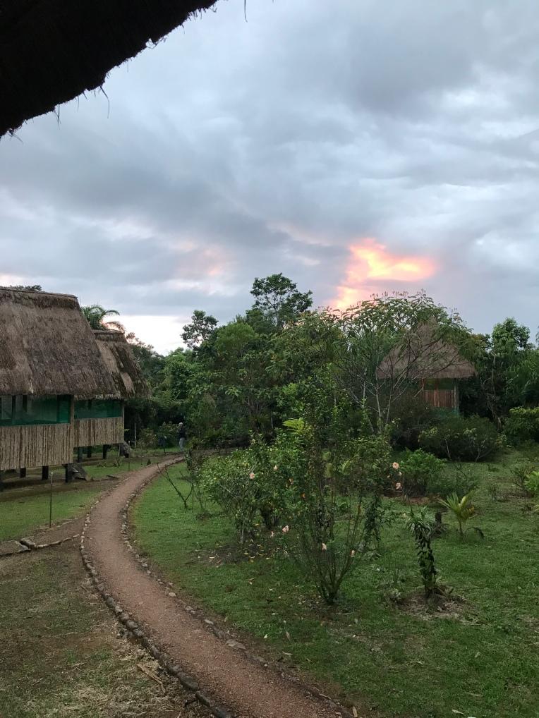 Bambu Lodge at sunset.
